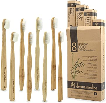 Paquete familiar de 8 cepillos de dientes de bambú, ecológicos ...