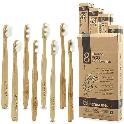 Paquete familiar de 8 cepillos de dientes de bambú, ecológicos, biodegradables, 4 medianos
