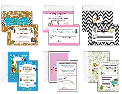 Creanoso Cute Animals Themed Birthday Celebration Invite Cards 30 Pack Party