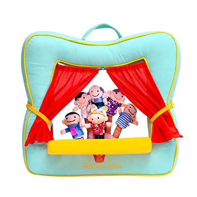 BETTERLINE Finger Puppet Theater Stage by Better Line - Set Includes 6 Finger Family Puppets - Portable Plush Finger Puppet Theater is The Best Preschool Kids Toy (Spring Green: Juguetes y juegos
