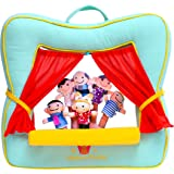 BETTERLINE Finger Puppet Theater Stage by Better Line - Set Includes 6 Finger Family Puppets - Portable Plush Finger Puppet Theater is the Best Preschool Kids (green)