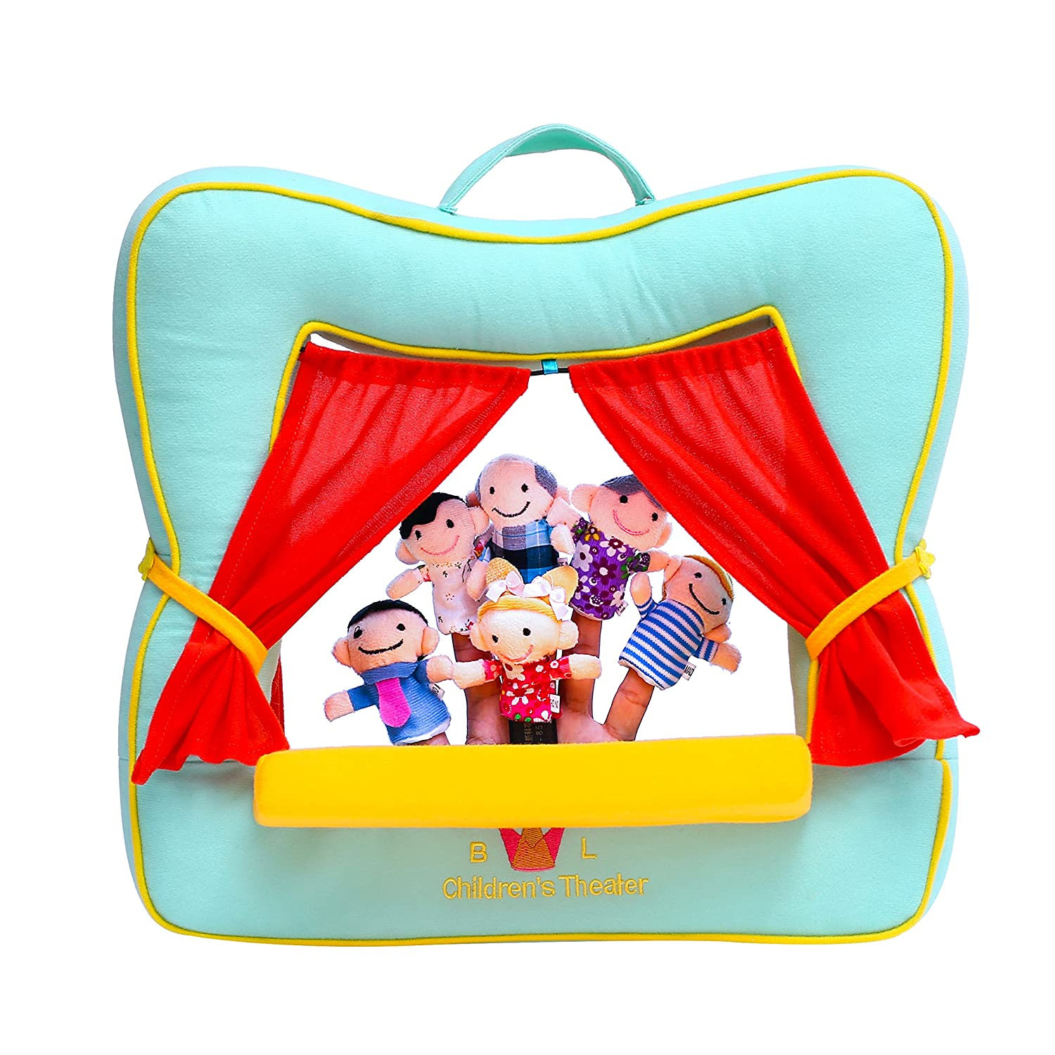 BETTERLINE Finger Puppet Theatre Stage - Set Includes 6 Finger Family Puppets - Portable Plush Finger Puppet Theater (Spring Green Color) Better Line ® NY6085 Green