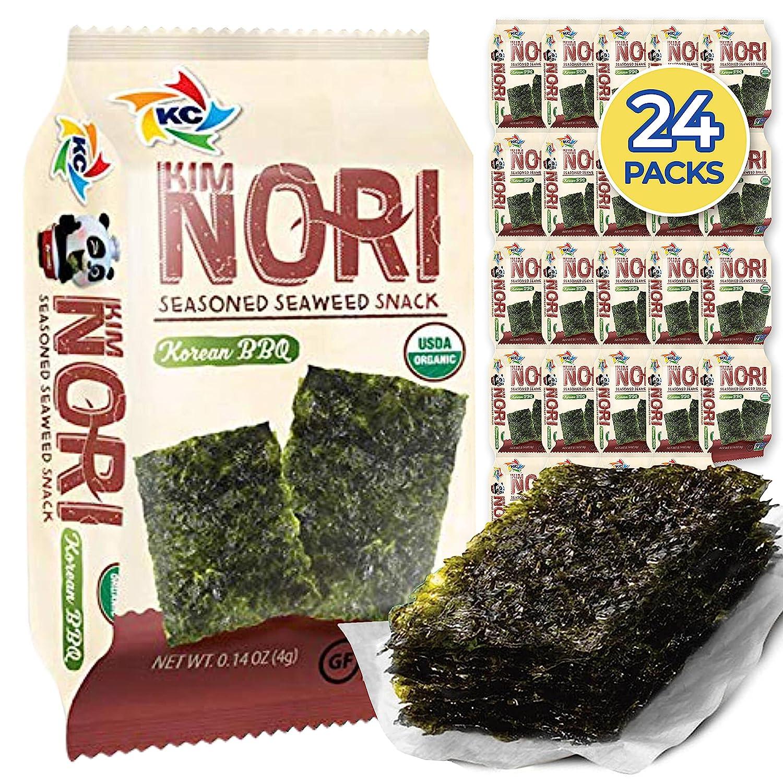 KIMNORI Seasoned Seaweed Snacks Sheets – Organic Korean BBQ Flavor 24 Individual Packs Roasted Crispy Premium 100% Natural Laver Kim Nori 4g 0.14 Ounce 김 のり 海苔 紫菜