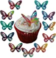 Toppercake Edible Wafer Butterfly Cup Cake Decorations Multi-Coloured