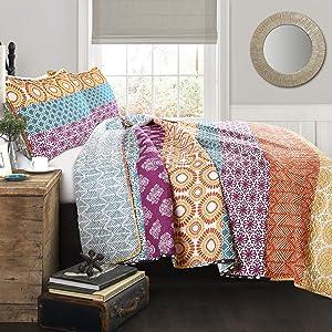 Lush Decor Fuchsia & Orange Bohemian Striped Quilt Reversible 3 Piece Colorful Boho Design Bedding Set Full Queen