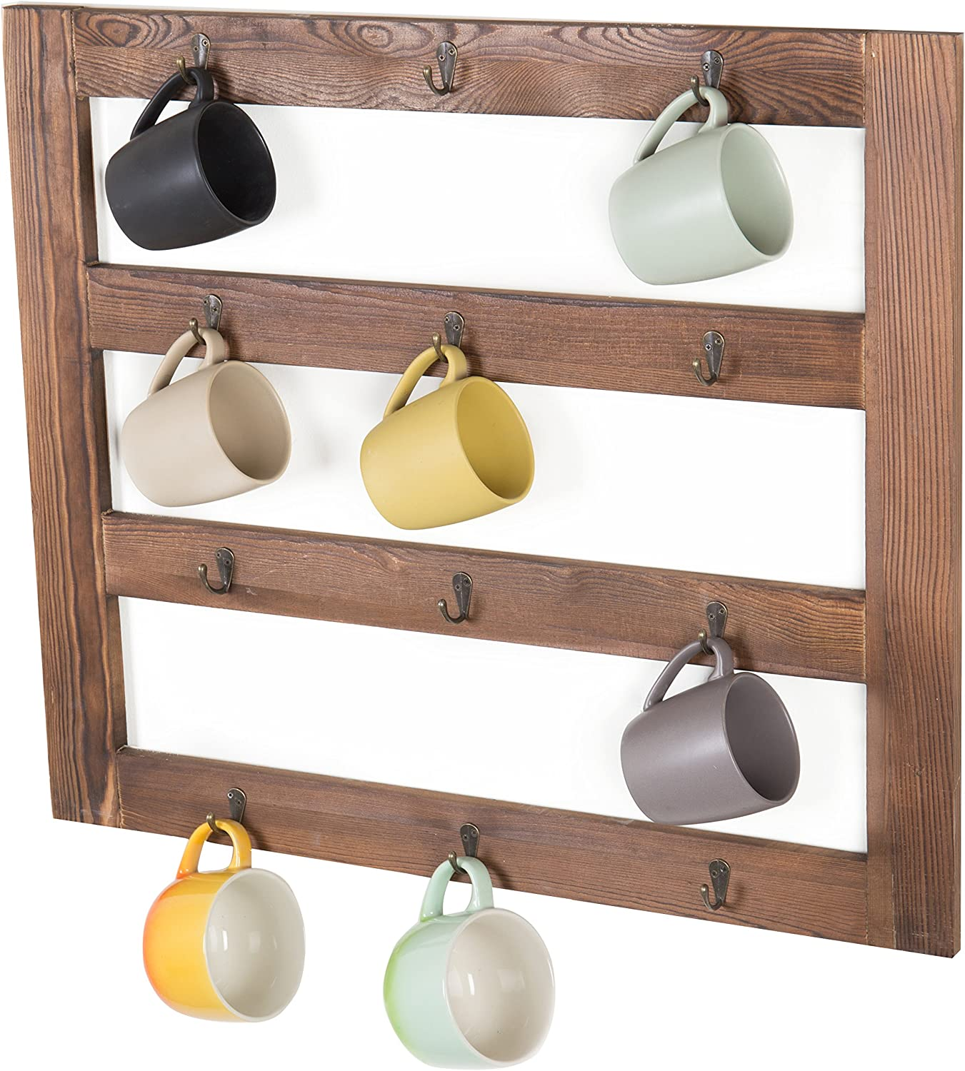 Amazon Com Mygift Wall Mounted Rustic Dark Brown Wood 12 Hook Coffee Mug Hanging Rack