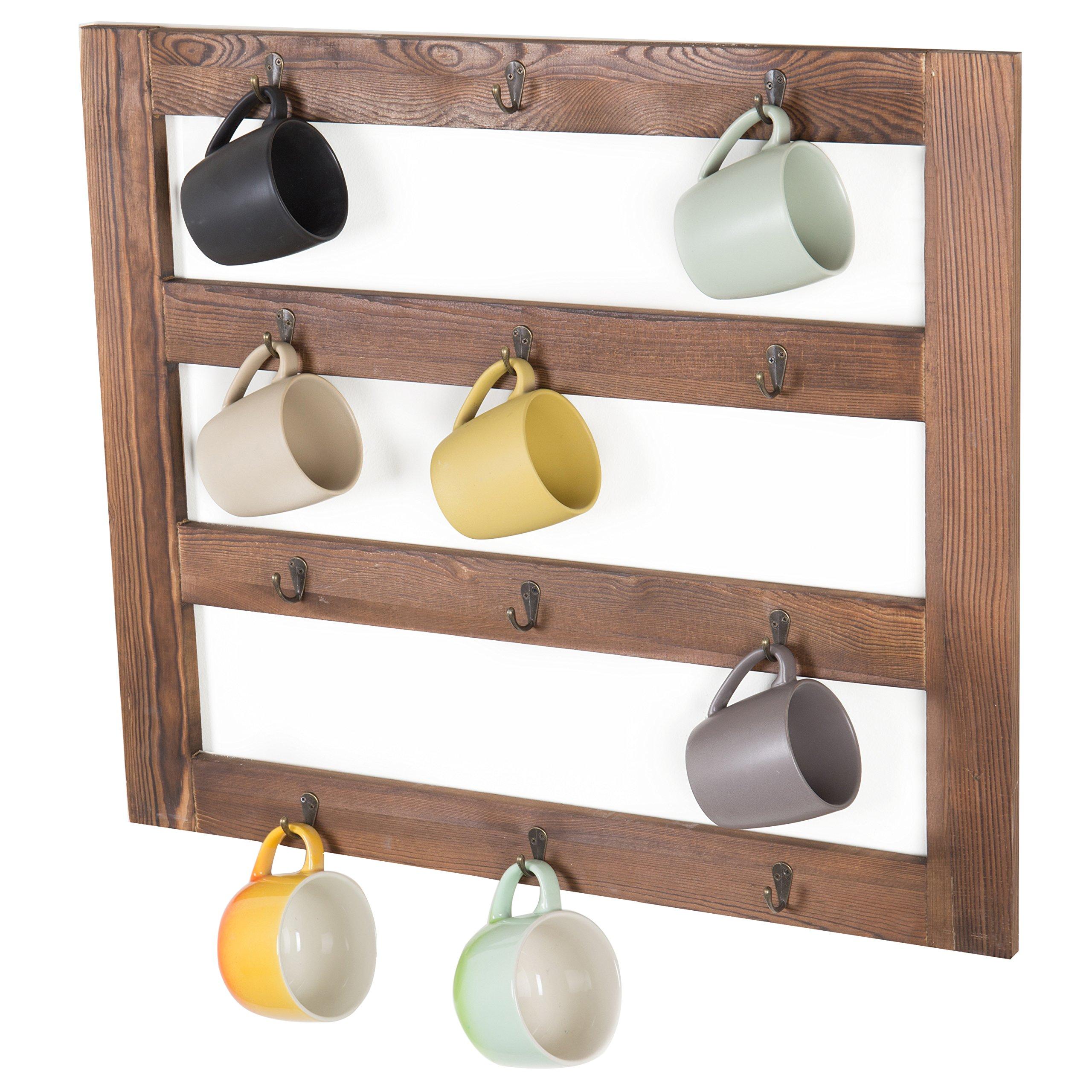 MyGift Wall-Mounted Rustic Wood 12-Hook Coffee Mug Hanging Rack