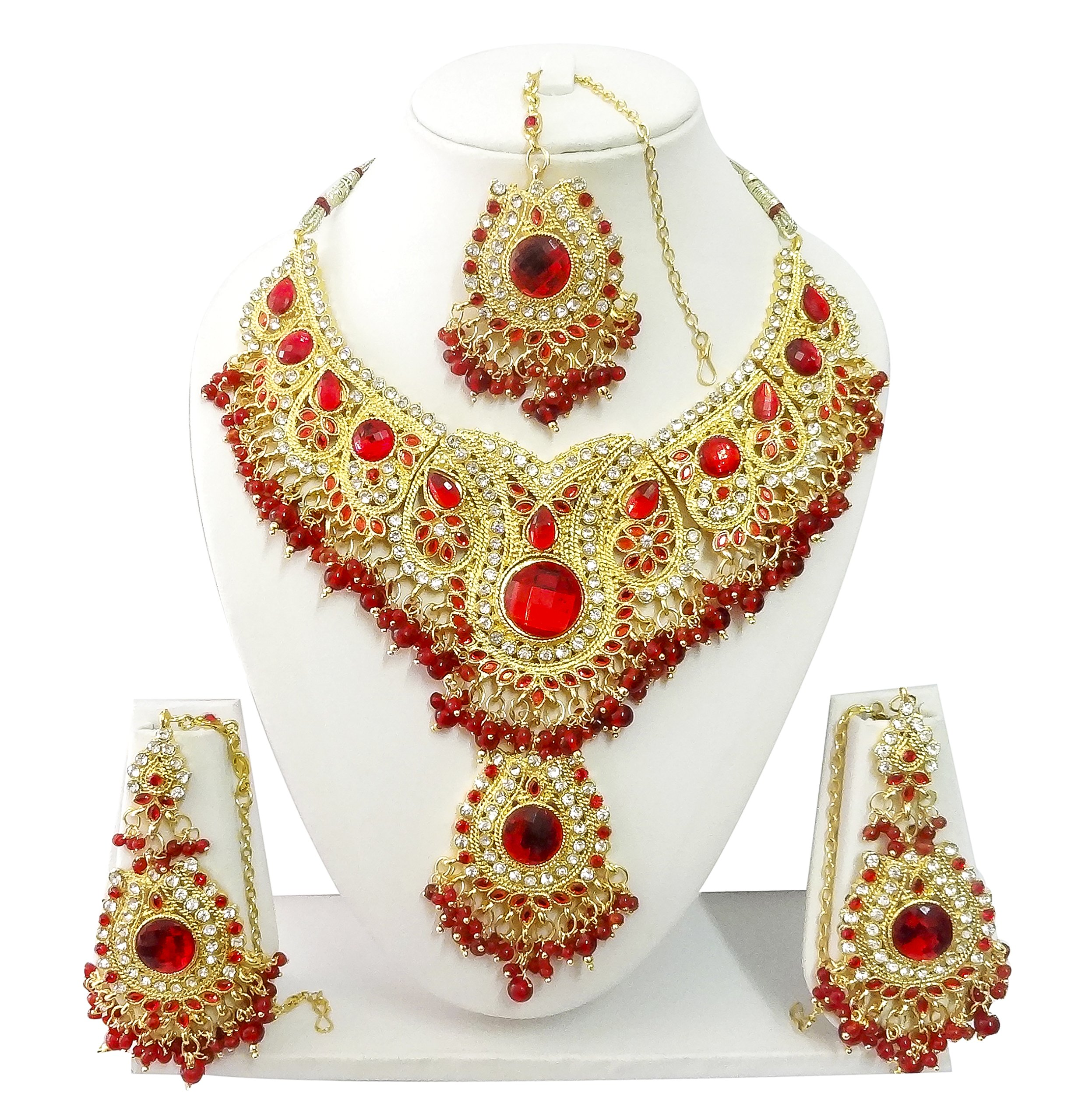 Exquisite Jewels Indian Bollywood Jewelry Set Ethnic Gold plated Necklace set with Earrings and Maang Tikka JS9003 Red