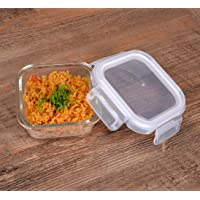 Cutting EDGE Glass Food Container, 320 Ml Square, for Kitchen Stackable Storage with Air Tight Lid - Microwave Safe
