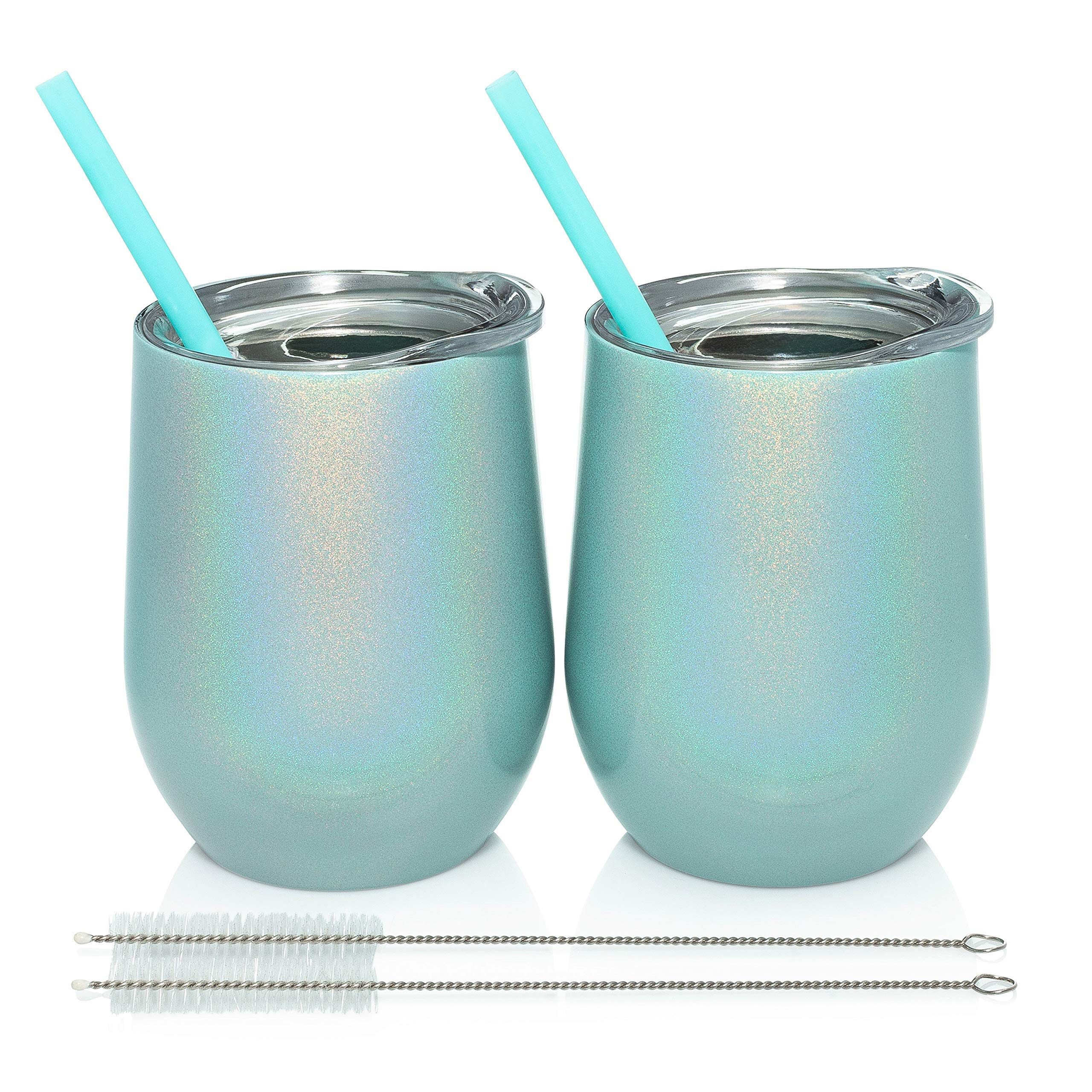 Trugos 12 oz Sparkly Stemless Wine Tumbler (Set of 2) Stainless Steel Double Wall Vacuum Insulated Cups With BPA Free Lid, Straw, and Cleaning Brush Great Travel Glasses For Wine, Coffee, Cocktails