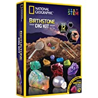 NATIONAL GEOGRAPHIC Birthstone Dig Kit - STEM Science Kit with 12 Genuine Birthstones, Includes a Real Diamond, Ruby…