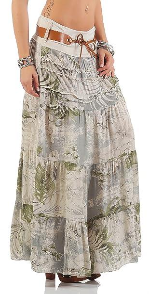 Matyfashion stylischer Damen Maxirock Sommerrock aus Baumwolle Strandrock Boho Stufenrock mit Kunsledergürtel BF 00105