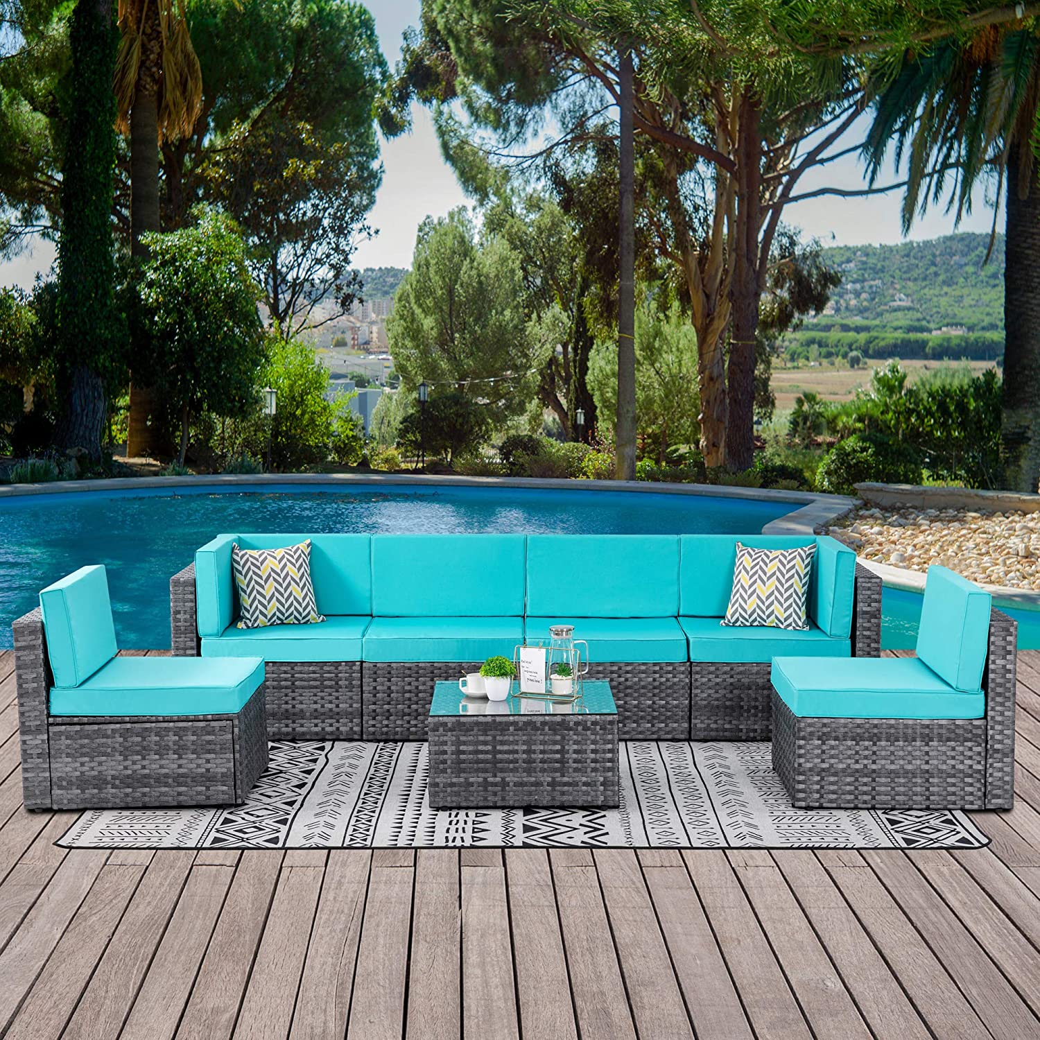 Walsunny 7 Piece Outdoor Patio Furniture Sets, PE Silver Gray Rattan Wicker Sectional Sofa Couch with Tea Table & Washable Cushions(Blue)