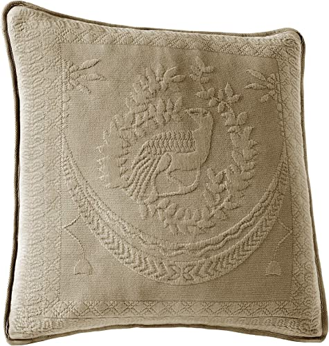 Historic Charleston 13995020X020BIR King Charles Matelasse 20-Inch by 20-Inch Decorative Pillow, Birch