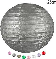 EinsSein 1 x LAMPION Medium Silber DM 25cm Hochzeit Wedding Laterne Papierlampion