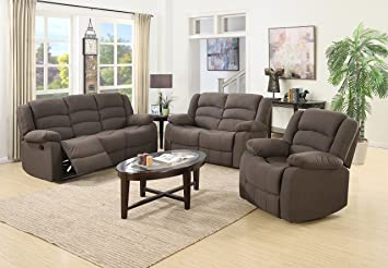 Amazon Com Us Pride Furniture 3 Piece Brown Fabric Reclining Sofa