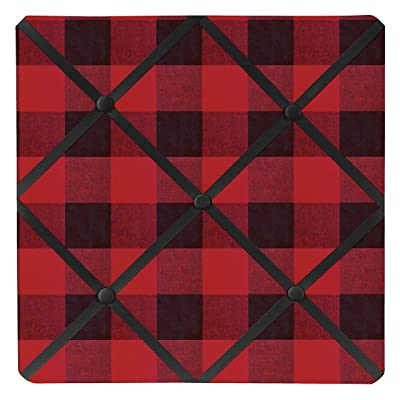 Sweet Jojo Designs Woodland Buffalo Plaid Fabric Memory Memo Photo Bulletin Board - Red and Black Rustic Country Lumberjack: Baby