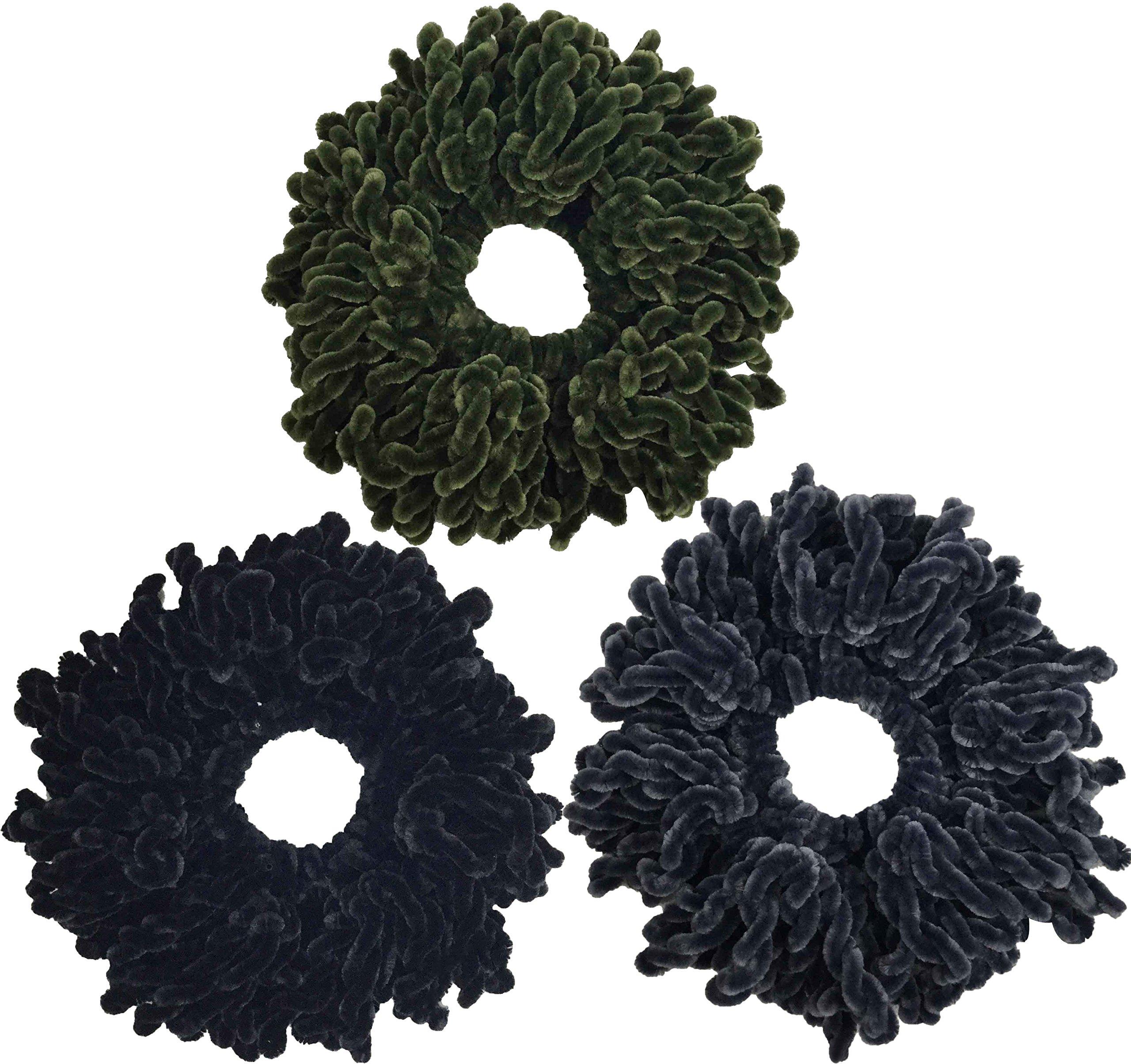Ababalaya Women's 3pcs Volumising Scrunchie Big Hair Tie Ring Hijab Volumizer Khaleeji Headwear,Black+Army Green+Gray