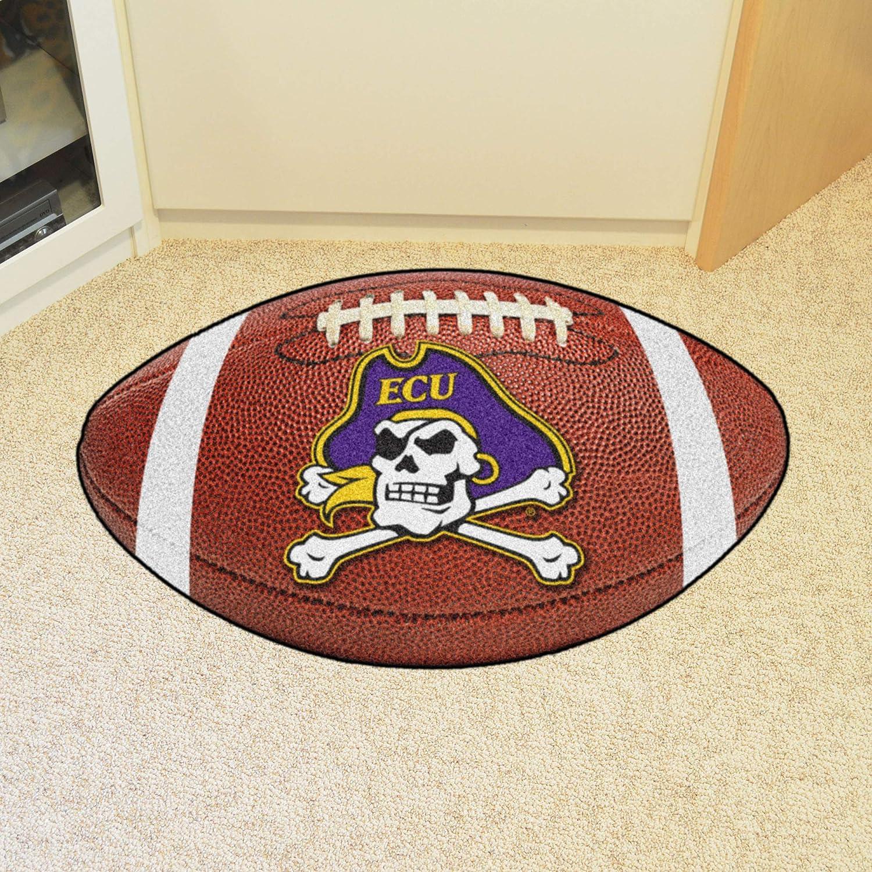 FANMATS NCAA East Carolina University Pirates Nylon Face Football Rug