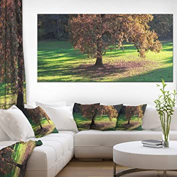 Design Art 1 Piece Lonely Beautiful Autumn Tree Landscape Wall Art Canvas Print 60x28 Amazon In Home Kitchen