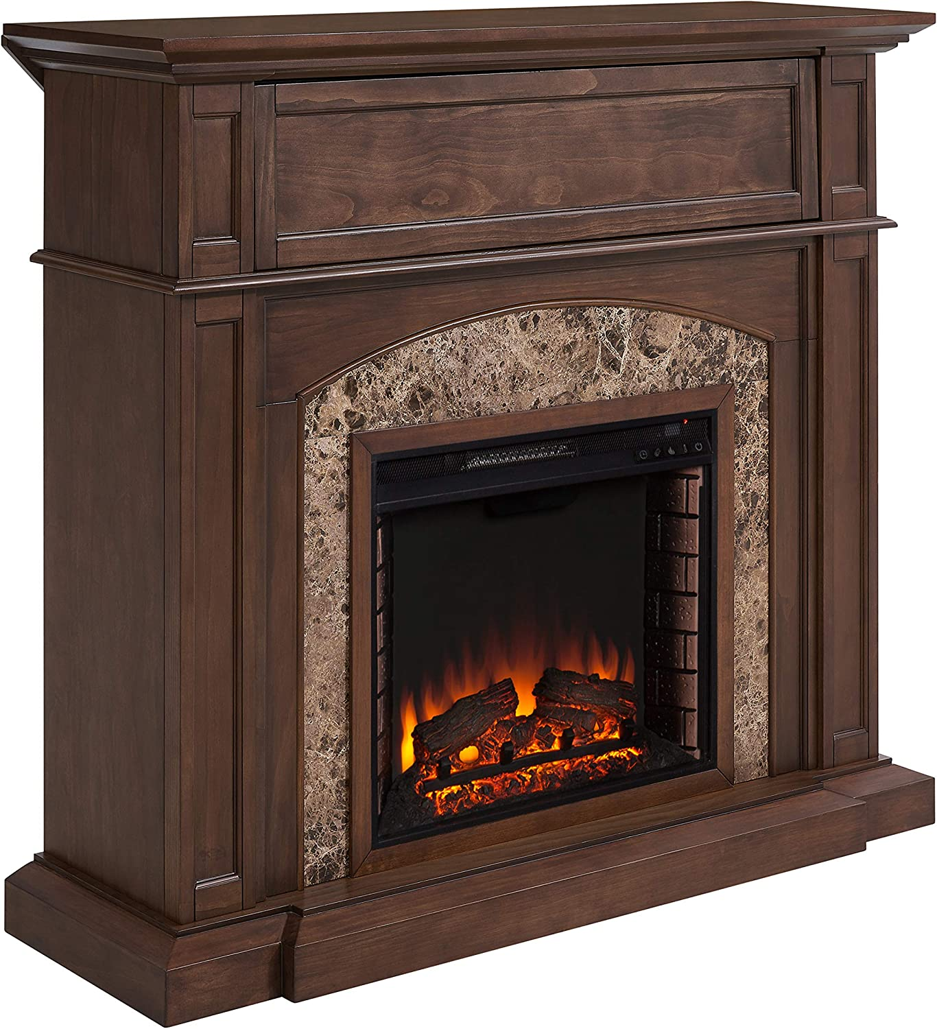 SEI Furniture Fairthorne Corner Convertible Hidden Media Shelf Electric Fireplace, Tuscan Pine, Brown Emperador Marble