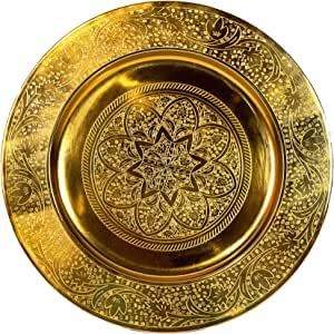 Bandeja oriental redonda hecha de metal Sidra 30cm