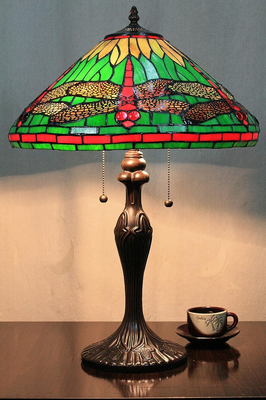 Europea Tiffany Lámpara de mesa de 16 pulgadas Libélula verde ...