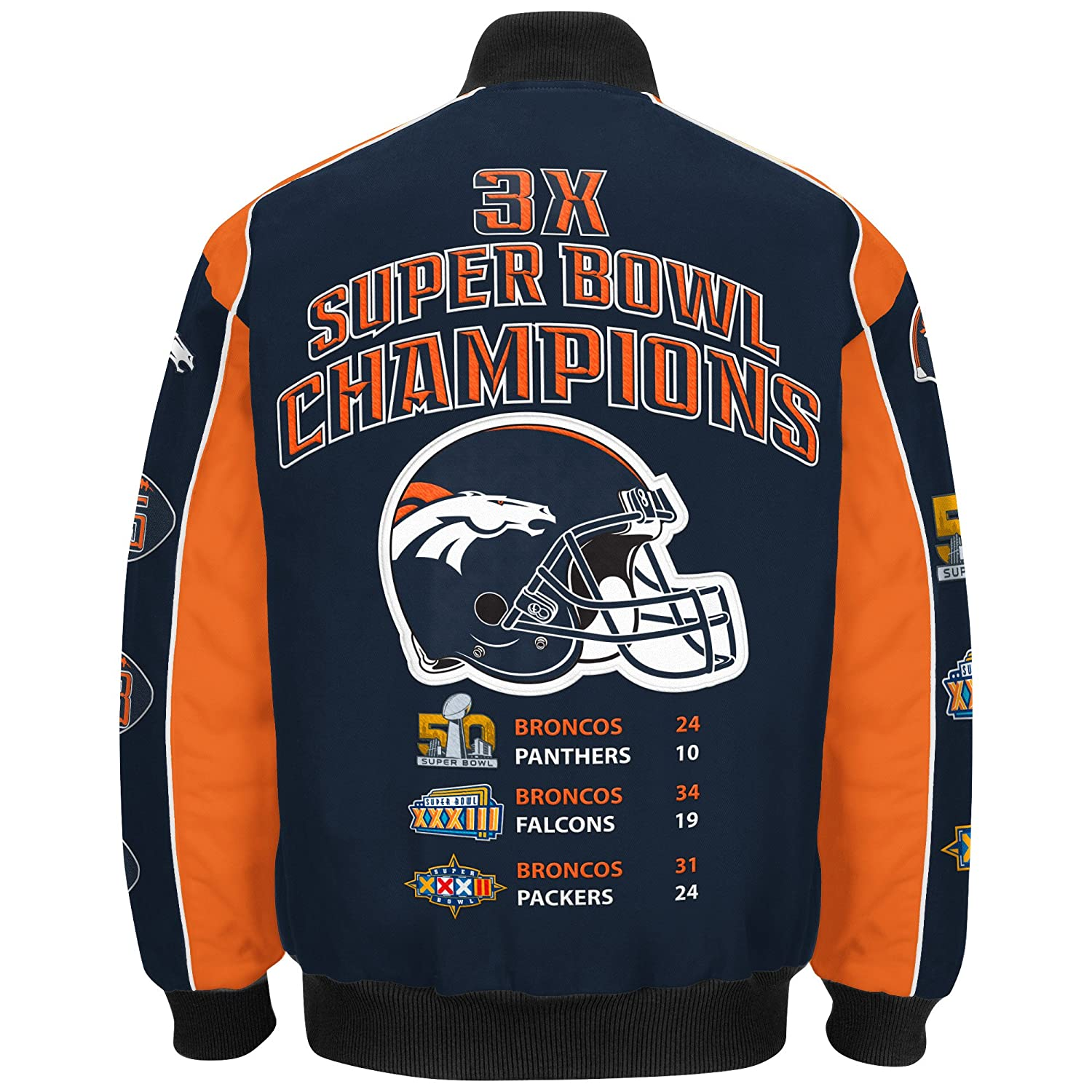 39a75860427 Amazon.com   Denver Broncos 3 Time Super Bowl 50 Champions Cotton Twill  Jacket By G-III   Sports   Outdoors
