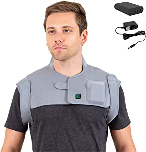 [Portable Battery] Venture Heat Infrared Heating Pad for Neck and Shoulder Pain - Electric Heat Wrap Brace for Pain Relief, Muscle Injury, Cramps, Joint Stress