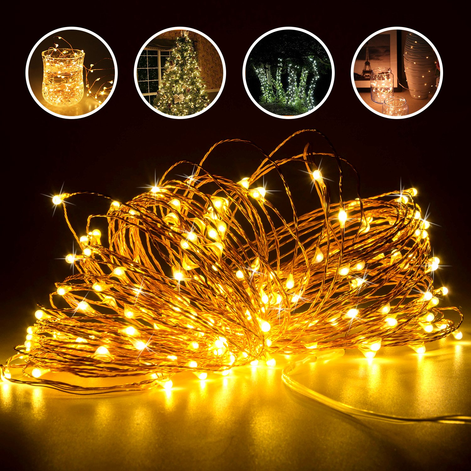 Copper Wire Lights, Elebor 2 Packs 33 Foot 100 LED Fairy Lights- Battery Operated Warm White String Lights for Decoration, Indoor, Wedding, Party, Garden, Festival LE010-Stringlight