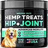 Organic Hemp Treats - Advanced Glucosamine for Dogs - 170 Soft Chews - Vet Approved - Hip & Joint Supplement w/ Hemp Oil - Ch