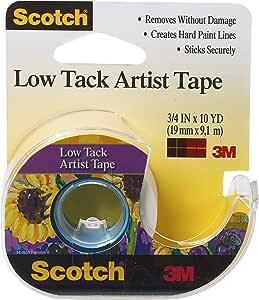 3M Safety Scotch Artist Tape, 3/4-Inch x 10-Yards, Low Tack (FA2020), White