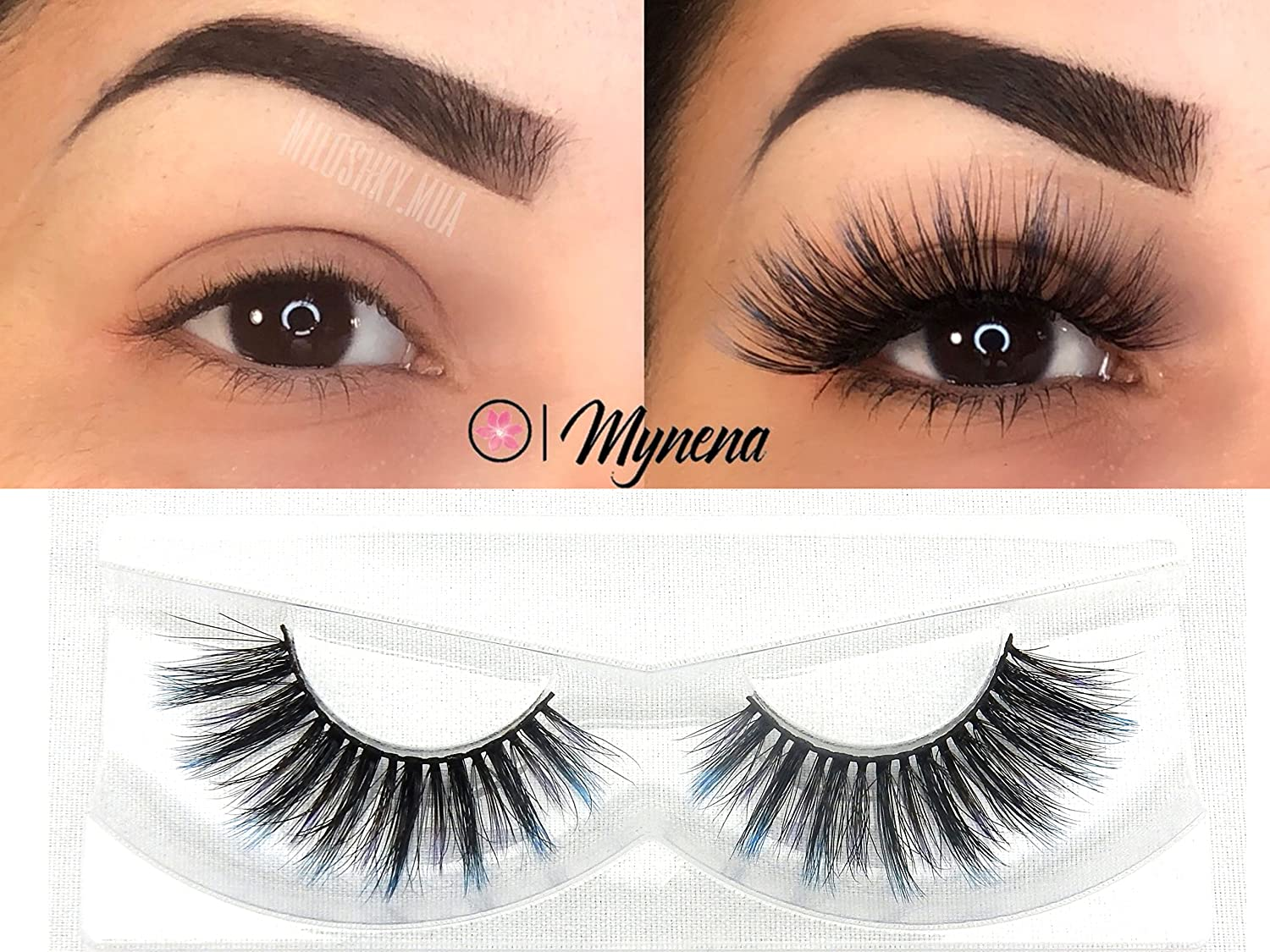0526360cad6 Amazon.com : Faux Mink Lashes 3D False Eyelashes Natural to Dramatic Look  Collection | Reusables | Handmade Vegan and Cruelty-Free | Premium Quality  | Blue ...