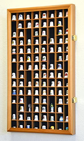 Thimble Small Miniature Display Case Cabinet Wall Rack 100-Openings -Oak
