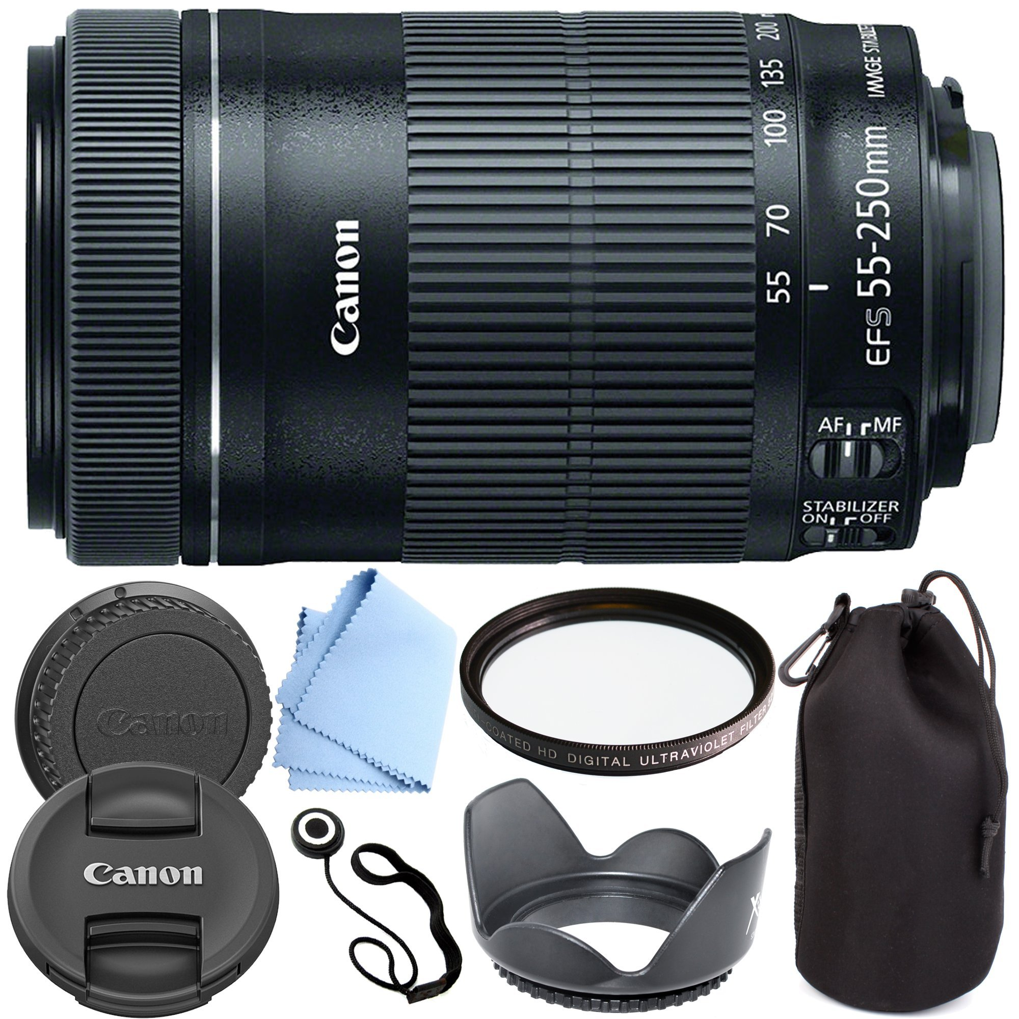 Canon EF-S 55-250mm F4-5.6 IS STM - International Version (No Warranty) Zoom Lens for for Canon EOS 7D, 60D, EOS Rebel SL1, T1i, T2i, T3, T3i, T4i, T5i, XS, XSi, XT, XTi Digital SLR Cameras + Shop Smart Deals Deluxe Kit 55-250mm STM by Canon