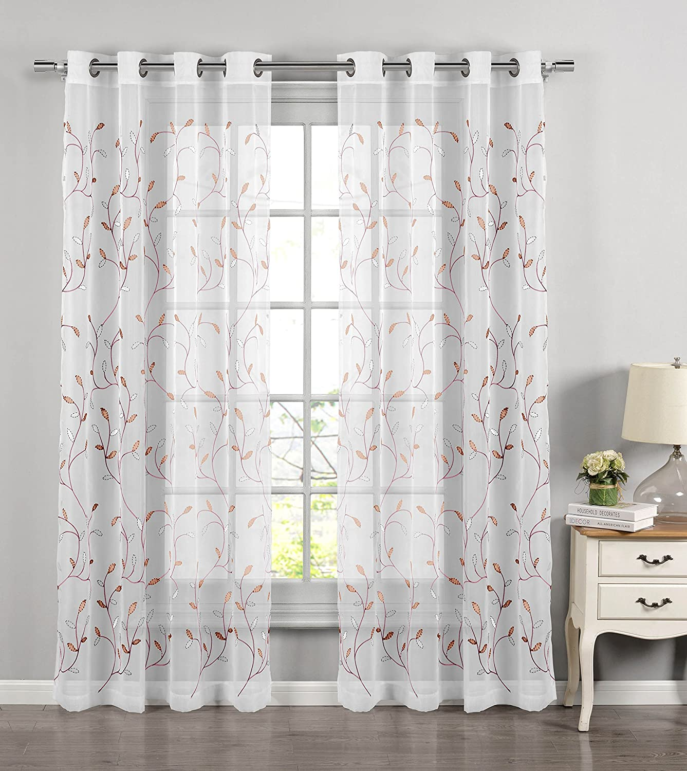 Window Elements Wavy Leaves Embroidered Sheer Extra Wide 54 x 84 in. Grommet Curtain Panel, Coral