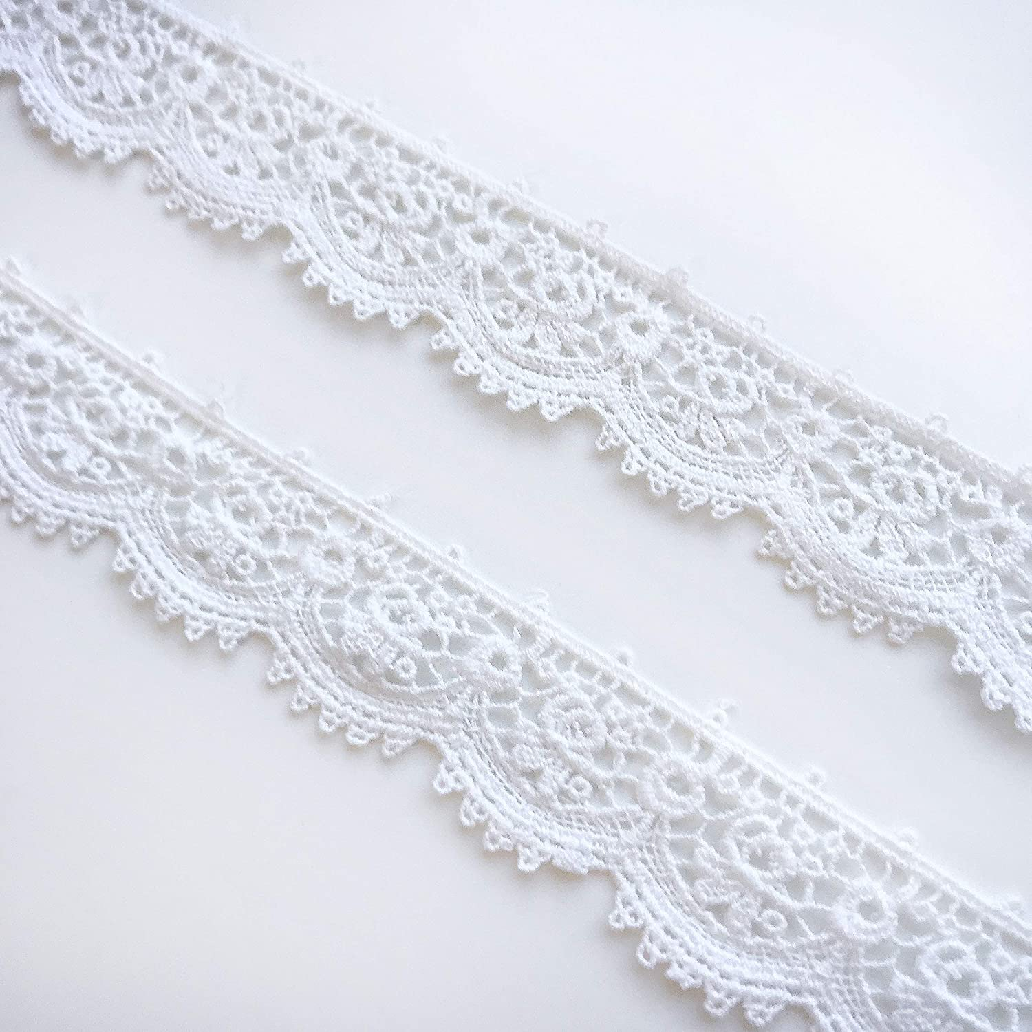 Off White Embroidered Cotton Lace Trim 15 cm Wide// 1 yard