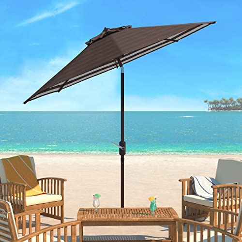 Safavieh PAT8007D Collection Athens Brown and White Inside Out Striped 9Ft Crank Outdoor Auto Tilt Umbrella