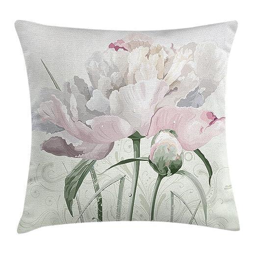 Funda de cojín decorativa con diseño floral abstracto de ...