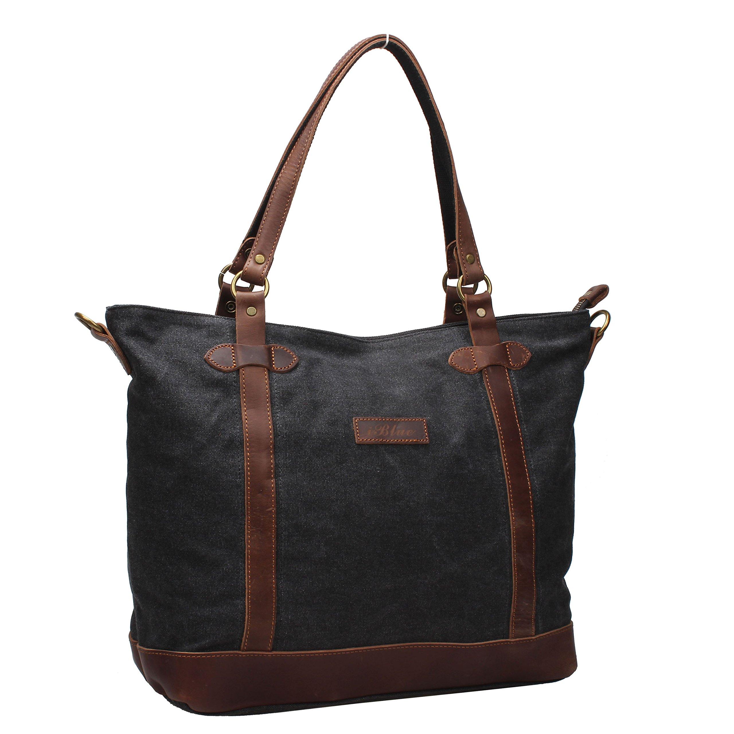 Iblue Women Canvas Shoulder Crossbody Bag Top Handle Handbag Grey i520