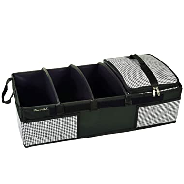 Picnic at Ascot - Ultimate Heavy Duty Trunk Organizer w/Cooler - No Slide Rigid Base -70 LB Capacity - 30  Wide x 14.75  deep x 9  high - Houndstooth