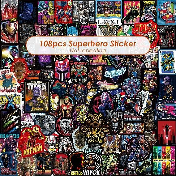 Q-Window Sticker Pack (108-pcs) Vinyl Pop Superheld Aufkleber Comics Film für Skateboard, Kinder, Jungen, Erwachsene, Fahrrad