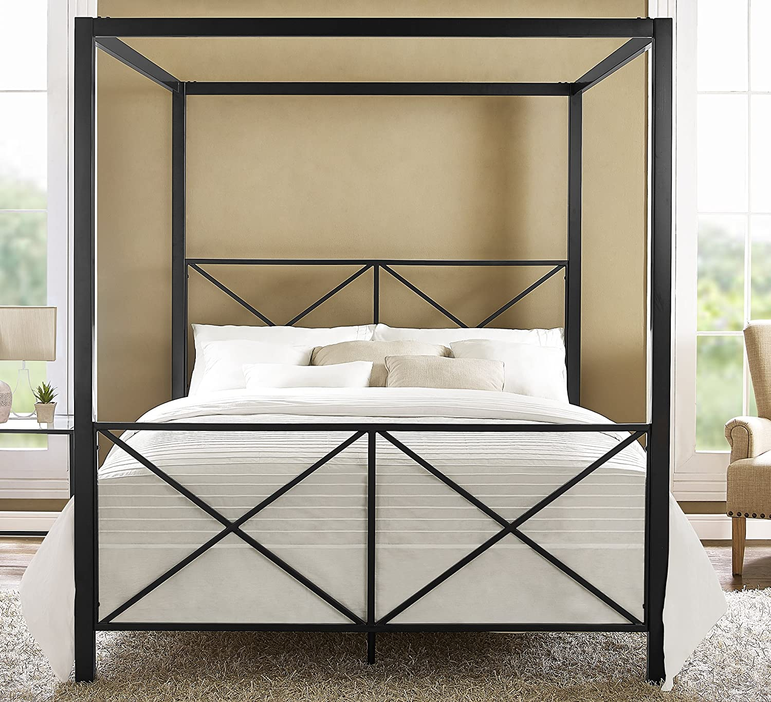 Amazon DHP Rosedale Metal Canopy Bed Queen Size Black
