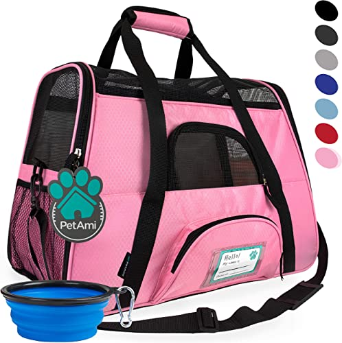 PetAmi Premium Airline Approved Soft-Sided Pet Travel Carrier Ventilated, Comfortable Design with Safety Features Ideal for Small to Medium Sized Cats, Dogs, and Pets