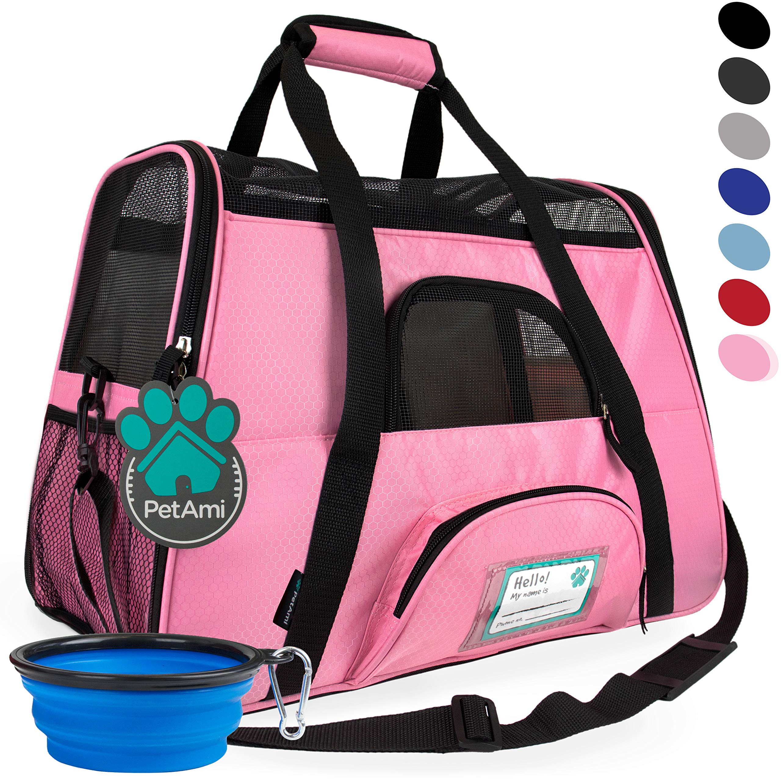 PetAmi Premium Airline Approved Soft-Sided Pet Travel Carrier | Ideal for Small - Medium Sized Cats, Dogs, and Pets | Ventilated, Comfortable Design with Safety Features (Small, Pink) by PetAmi