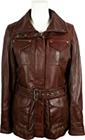 UNICORN Womens Classic Mid-Length Coat - Real Leather Jacket - Brown #7P