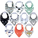 Diaper Squad 100% Organic Cotton Woodland 10-Pack Baby Drool Bandana Bibs for Boys and Girls