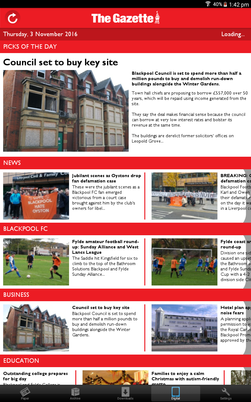 Amazon com: The Blackpool Gazette Newspaper: Appstore for