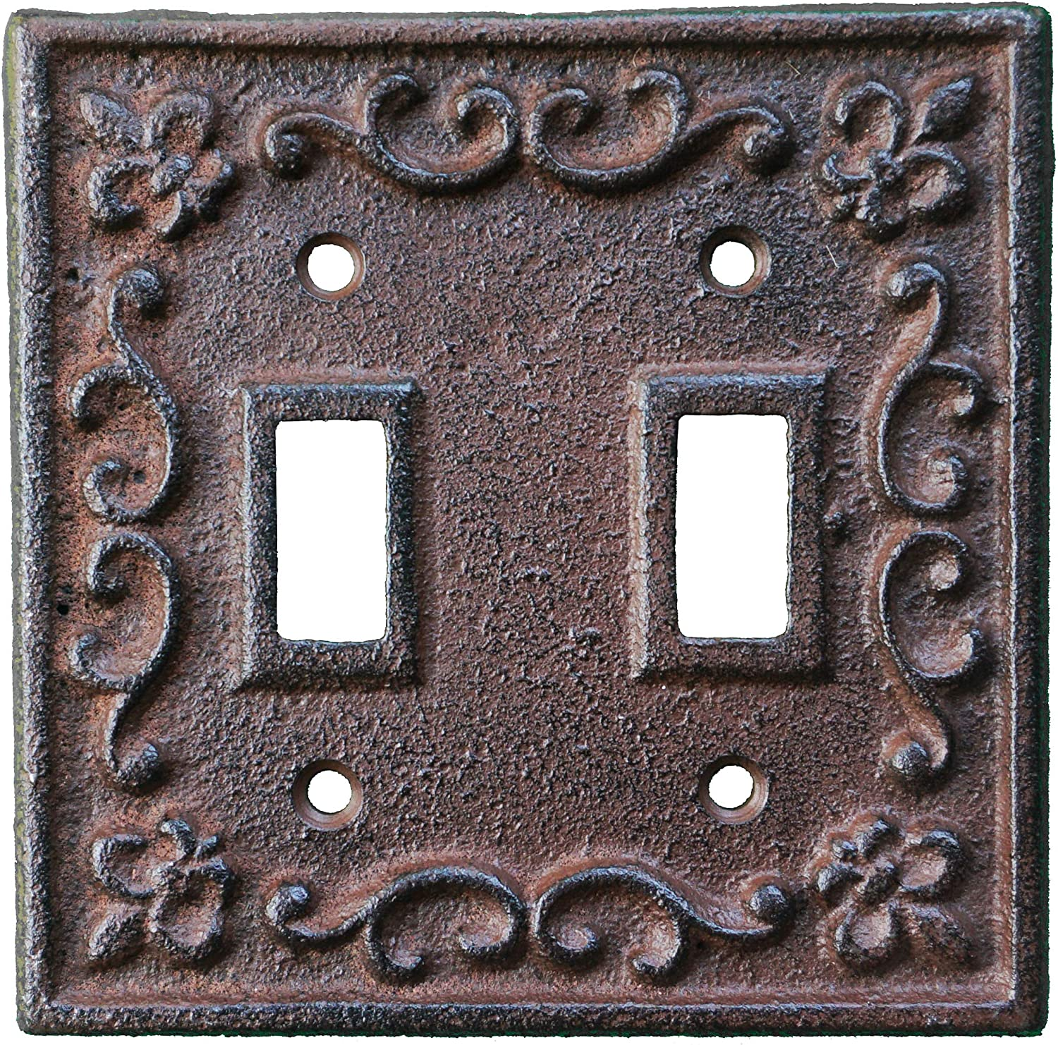Lulu Decor Fleur De Lis Cast Iron Switch Plate In Antique Rustic Brown Finish Perfect For Any Room Or Office Space Furniture Decor