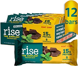 product image for Rise Whey 15g Protein Bar, Mint Chocolate Chip, Healthy Breakfast & Snack Bar, 4g Dietary Fiber, 5 Natural Whole Food Ingredients, Simplest Non-GMO, Gluten Free, Soy Free Bar, 12 Pack…